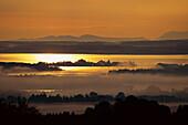 Sunset over Chiemsee Lake, Chiemgau, Bavaria, Germany