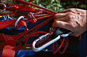 Rock climbing, Detail, Rope and carabiner Sports