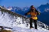 Ski touring on Snowshoe pass, Dolomites, South Tyrol, Italy