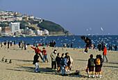 Traditional Korean games, Haeundae Beach, Haeundae, Busan South Korea, Asia
