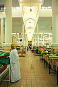 Vegetable market, people at the great market hall, Nizwa, Oman