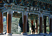 Monk ringing bell, Hwaom-sa monastery, Hwaom-sa, South Korea Asia