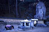 Prayer, buddha statue on Namsan Mountain, Geongju, Geongju, South Korea Asia