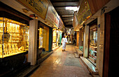 Shops and showcase with gold jewelry, Souk, Muscat, Oman, Middle East, Asia