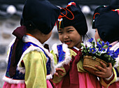 Girls in traditional Korean costume, Seoul, South Korea Asia