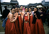 Women in traditional Korean costume hanbok, , Seoul, South Korea Asia