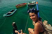 Schnorchlerin, Santa Maria, Sal Kapverdische Inseln