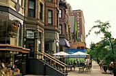 Sidewalk cafes and shops at Newbury Street, Boston, Massachusetts USA, America