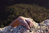 Hand of a free climber, Provence, France