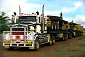 Truck on a country road, Northern Territory, Australia