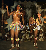 Zulu women dancing in the evening, Shakaland, Kwazulu Natal, South Africa, Africa