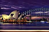 Darling Harbour, Sydney opera and Harbour Bridge, Sydney, New South Wales, Australia