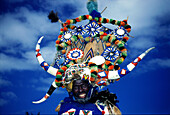 Zulu man posing with traditional headdress, Durban, Kwazulu Natal, South Africa, Africa