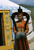 Women and yurt, Gobi Steppe, Gobi, Mongolia Asia
