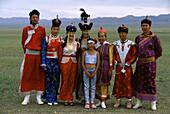 Traditional costumes, Gobi desert, Mongolia Asia