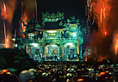 Yenshui fireworks festival, temple with fireworks, Yenshui, Tainan County Taiwan, Asia