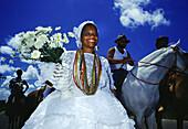 Candomble priestess at carnival, Salvador da Bahia, Brazil, South America