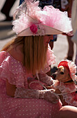 Lady and dog dressed up, Klondike Days , Edmonton Alberta , Canada