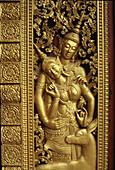 Temple relief, Royal Palace, Luang Prabang, Laos Indochina, Asia