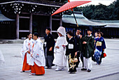 Wedding party at Meiji Temple, Tokyo, Japan