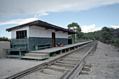 Railway station and track under clouded sky, Copper canyon, Divisadero, Chihuahua, Mexico, America