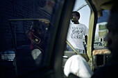 View from a taxi at a jamaican man, Jamaica, Carribean