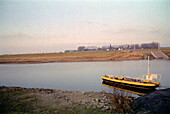 Ferry on a river at afterglow, North Rhine-Westphalia, Germany
