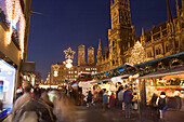 Christmas market on Marienplatz, Munich, Bavaria, Germany