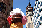 Buildings and ice cream advertising in the sunlight, Leipzig, Saxony, Germany, Europe