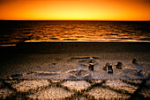Beach chairs after sunset, Kampen, Sylt, Germany