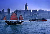Junk Ship and Hongkong skyline, Hongkong, China
