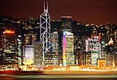 Hongkong skyline by night, Hong Kong, China