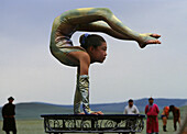 Acrobat girl, Nadaam Festival, Gobi Steppe, Mongolia