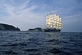 Full-Sail Royal Clipper, Sailing in Mediterranean Sea, Near Ponza, Italy