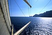 Sailing Towards Capri in Mediterranean Sea, Royal Clipper in front of Capri, Campania, Italy