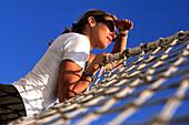 Girl in Bowsprit Net, Royal Clipper, Sailing in Mediterranean Sea, Italy