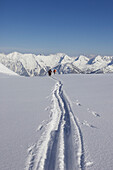 Skiing tracks on powder snow, Nebelhorn Mtn., Oberstdorf, Bavaria, Germany