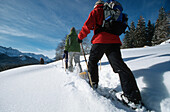 Snowshoeing in powder snow, Elmau, Upper Bavaria, Germany