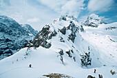 Skiing tour on Mauerschartenkopf, Alpspitze, Garmisch Partenkirchen, Germany