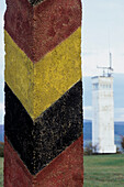 Pole and Observation Tower, Point Alpha Border Memorial, near Rasdorf, Rhoen, Hesse, Thuringia, Germany