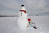 Girl 5-6 Years, lean against snowman