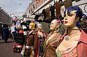 Mannequins, Albert Cuypstraat Market, Trendy mannequins showing leather jackets at Albert Cuypstraat Market, Amsterdam, Holland, Netherlands