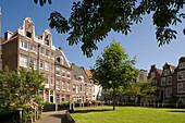 Amsterdam Houses, Begijnhof, Old gabled houses of Begijnhof at a sunny day, Amsterdam, Holland, Netherlands