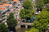 Houses, Canal, Boats, Jordaan, Prinsengracht, View over Jordaan and Prinsengracht with boats from Westerkerk church tower, Amsterdam, Holland, Netherlands