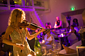Violin Performance, Supperclub, Restaurant, Young woman during a violin performance, Supperclub, Amsterdam, Holland, Netherlans