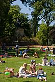 People, Meadow, Vondelpark, People relaxing on meadow in Vondelpark, Amsterdam, Holland, Netherlands