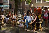 Gusts, Open Air Cafe, Monday Flea Market, Noorderkerkplein, Jordaan, People sitting in open air cafe, monday flea market Noordermarkt, , Noorderkerkplein, Jordaan, Amsterdam, Holland, Netherlands
