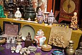 Outlay, Monday Flea Market, Noordermarkt, Jordaan, Asian objects at monday flea market, Noordermarkt, Jordaan, Amsterdam, Holland, Netherlands
