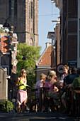 People, Open Air Restaurant, Egelantiersgracht, Jordaan, People sitting in open air restauarnt on canal bridge over Egelantiersgracht, Jordaan, Amsterdam, Holland, Netherlands