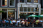 Guests, Cafe Finch, Jordaan, People sitting and standing in open air Cafe Finch, Jordaan, Amsterdam, Holland, Netherlands